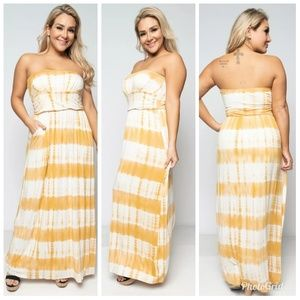 Dresses & Skirts - Plus Size Mustard Tie Dye Pocketed Maxi Dress
